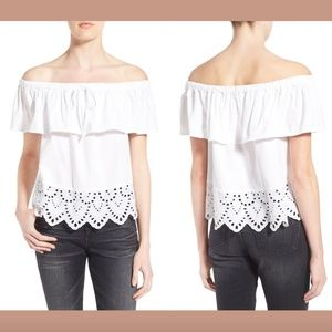 NEW $88 Madewell 'Balcony' Eyelet Off Shoulder Top